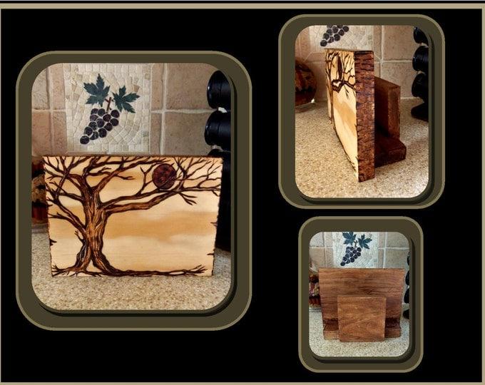 tree napkin holder,rustic bathroom, kitchen decor,Nature lover,Rustic decor,cabin decor,Hostess gift,house warming gifts,wood burned art