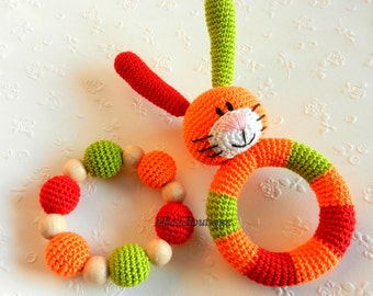 Baby toy Rattle SET of 2 Teething baby toy Grasping Teething Toys Bunny Stuffed toys gift for baby Girls Boys Babies Baby