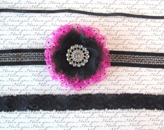 Hot Pink and Black Ruffled Baby Headband,Hair Clip, Toddler Headband, Girls Headband, Teen Hair Clip, Photo Prop!