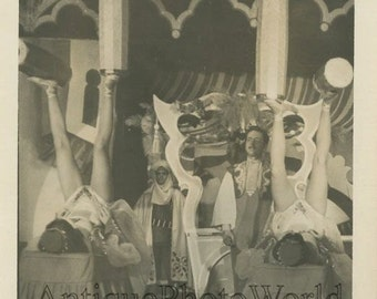 Women juggling with feet on stage antique circus photo