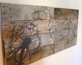 Dandelion Wall Art,Pallet Art,21x21, 2 piece,Blowing Dandelion,Dandelion Art,Dandelion Painting,rustic wood planks,reclaimed wood,flower art