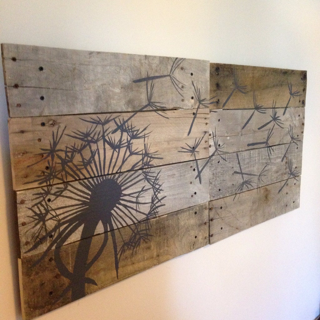 Pallet Wood Wall Art dandelion wall artpallet art21x21 2 pieceblowing