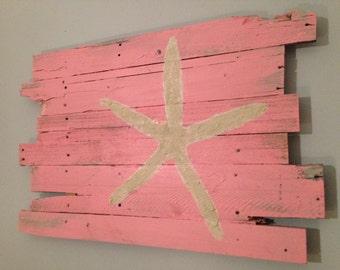 "Beach Decor Starfish Wall Hanging. Pink. Rt. Justified 35"" x 22"""