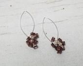 Pink Topaz Confetti dangle earrings handmade by ladeDAH! jewelry