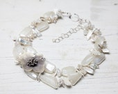 Chalcedony, moonstone, pearl, and fine silver primrose necklace handmade one of a kind by ladeDAH!  Wedding dress ready!