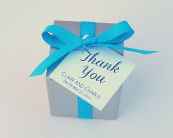 40 Personalized Silver Favor Boxes with Turquoise Ribbon