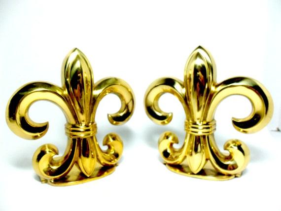 Brass bookends fleur de lis bookends laquered brass - Fleur de lis bookends ...