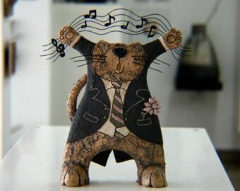 Handmade Ceramic Cat ,Sculpture Cat,Pottery Figurine,Singing Cat,Art decor, Animal sculpture,Pottery Cat, Funny cat,Clay cat