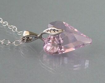 Genuine Swarovski Rose Heart Necklace - Heart Shaped Swarovski Crystal Pendant in Sterling Silver - Rose Swarovski Necklace - DK490
