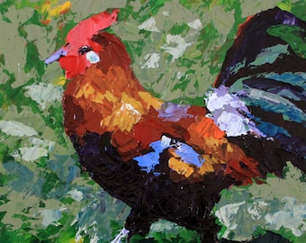 "Palette kinfe painting 12x12"" small original acrylic bird on panel green blue orange cock impressionist fine art by Cristina Jacó"