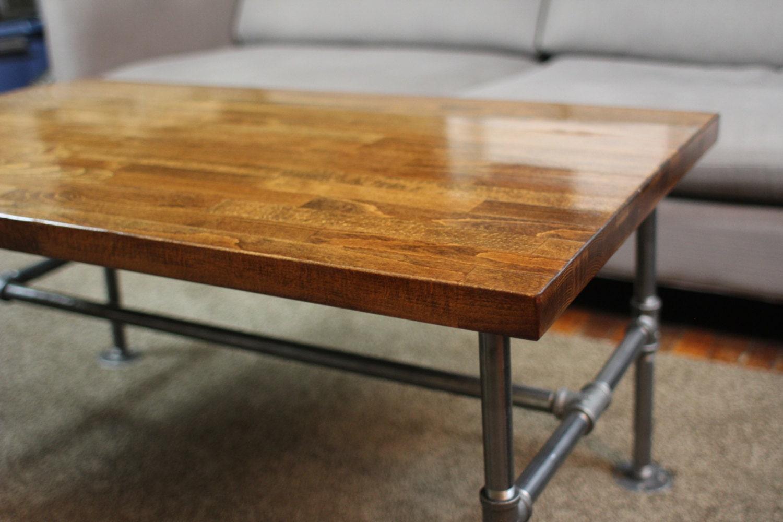 in stock handmade high gloss butcher block coffee table