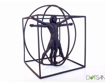 3D Printed Black Vitruvian Man