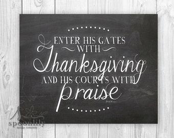 Enter His Gates with Thanksgiving Bible Verse Art, Psalm 100 4 Art Print, Thanksgiving Home Decor, Fall Wall Art, Christian Home Decor