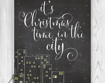 Silver Bells, It's Christmas time in the City Holiday Poster, Christmas Art Print, Holiday Decor, Christmas Typography Poster