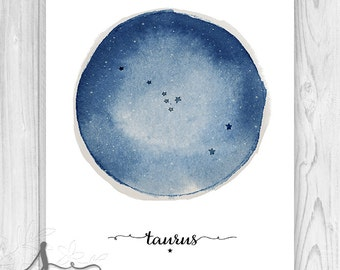 Taurus Constellation, Zodiac Constellation Print, Star Chart, Astrology Print - Wall Art Poster Print