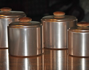 Vintage 1950's MIRRO Pink Aluminum Canister Set with copper-like interiors