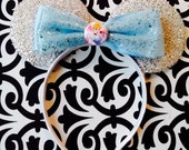 Princess Cinderella Blue Bow Tie Sparkle inspired Silver Sparkle Minnie Mouse Headband Ears