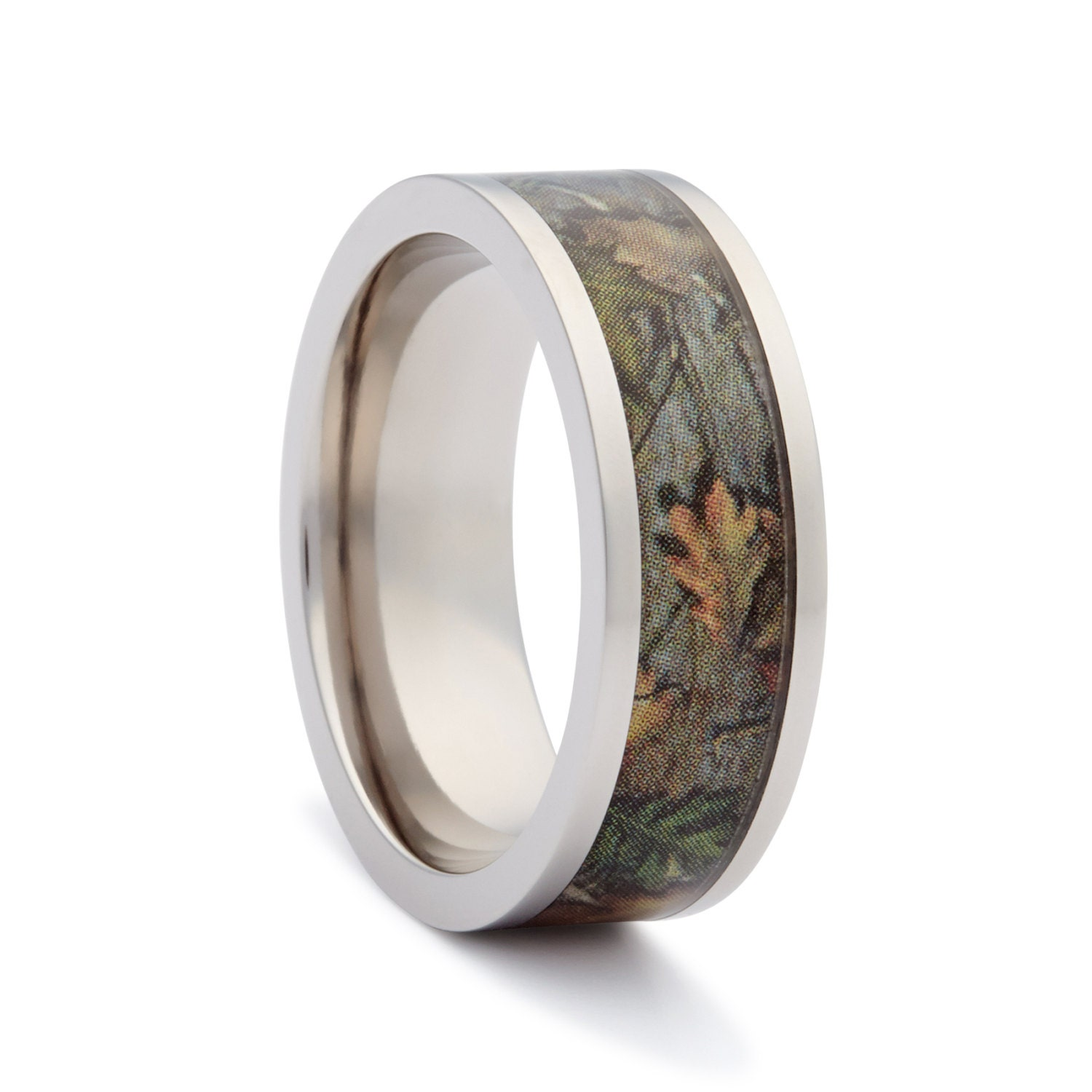 Camo wedding rings by one camo flat titanium by for Camoflauge wedding rings