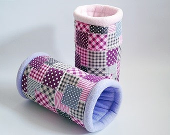 SAVE SHIPPING: 2x cosy cuddle tunnel / roll for guinea pigs, hedgehogs or sugar gliders (patchwork pink)
