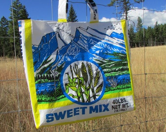 Upcycled FarmSwag Rocky Mountain Sweet Feed - Feedbag Tote / Market Bag.  FREE USA Shipping