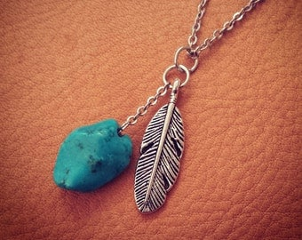 Spirit // Feather Necklace // Tribal Necklace // Native American // Turquoise Necklace // Boho Necklace // Pocahontas // Bohemian