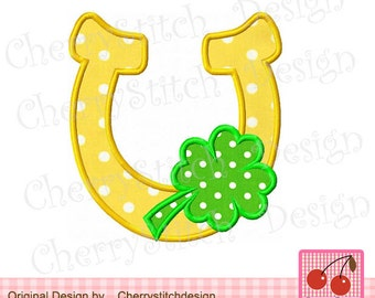 St Patrick's Day Shamrock Lucky Horshoe Machine Embroidery Applique Design -4x4 5x5 6x6'