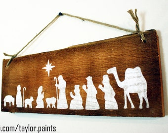 Rough Wood Nativity Scene