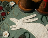 Spring! - Penny Rug Wool Felt Finished Design - Spring Hare Leaping