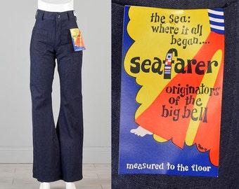 29x33 Boho Bell Bottoms Deadstock Denim High Waist Jeans Bohemian Vintage 1970s 70s  Dark Indigo Hippie Jeans Seafarer Extra Long Iconic
