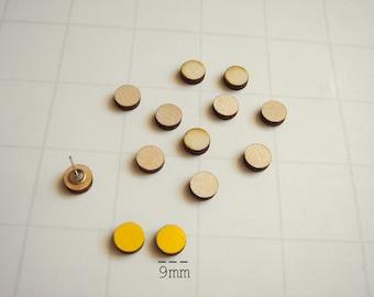 Laser Cut Wood Circles  9mm, Wood Geometric Tiles for Stud Earrings, Unfinished Wood geometric Tiles for earrings