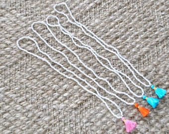"Handmade Tassel + Bead ""White Tidal Tassel Necklace"" Limited Edition"