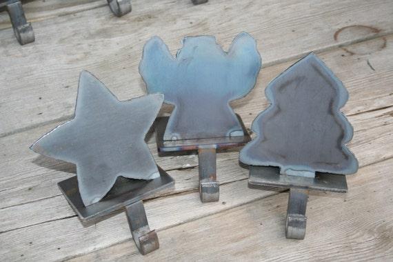 Handmade metal christmas stocking holders by