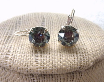 Swarovski Crystal Earrings, Blue Gray Shade, 11mm Chatons, Lever Back Drops, Gift For Her, Designer Inspired, Siggy Jewelry, FREE SHIPPING