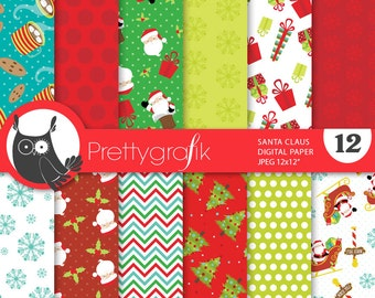 Santa claus digital paper, commercial use, scrapbook papers, background chevron, christmas - PS663