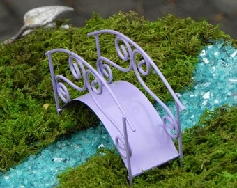 Fairy Garden Bridge miniature accessories footbridge lilac lavender