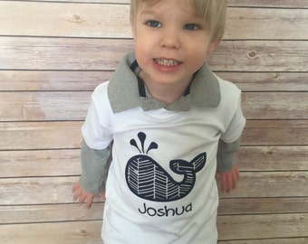 Personalized Whale Onesie or T-shirt for little boys