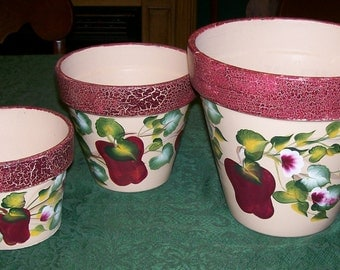 Hand Painted Apple Flower Pots Never Used Set of 3