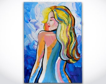 Figure Pop Art Painting ORIGINAL Textured Abstract Nude Oil Made With a Palette Knife by Denisa Laura on 20x28 Canvas Fantasy Girl
