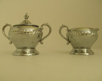 Chrome Cream and Sugar Set
