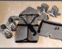 Crocheted Baby Boxing Outfit with Gloves and Robe