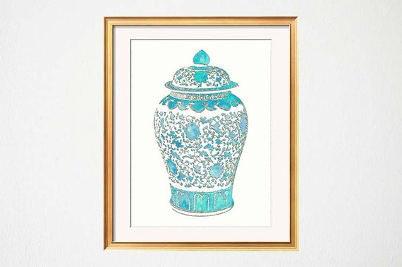 Turqouise Ginger Jar Print, Chinoiserie Wall Print, Turquoise Teal Wall Decor, Turquoise Vase Print, Turquoise Living Room Art, Palm Beach