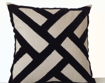 Grey Linen Black Velvet Pillow Cover, Geometric Pattern Pillow Modern Decor, large pillow Decorative Throw Pillows, Euro Sham Texture Pillow