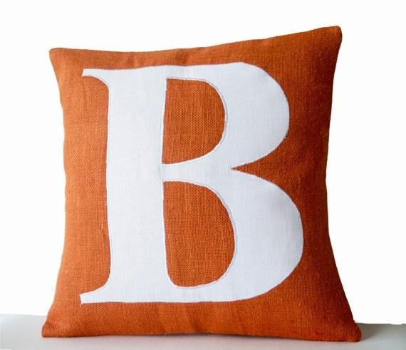 Items similar to Orange Pillow Covers -Personalized Monogram throw pillow- Burlap pillows ...