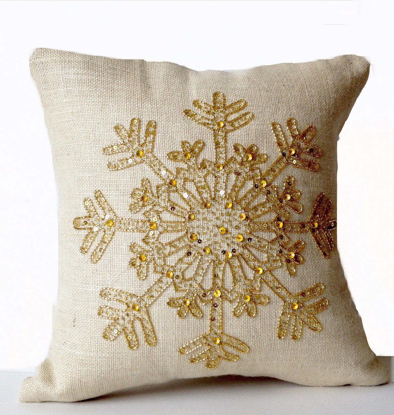 Ivory Burlap Pillow Snowflake Cream Throw Pillow Cover