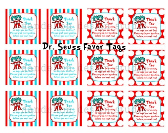 PRINTABLE Party OR Favor Tags - Dr Seuss Party Collection - Dandelion Design Studio