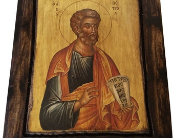 Saint St. Peter - Orthodox Byzantine icon on wood handmade (22.5cm x 17cm)