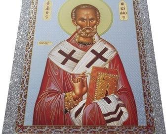 Saint St. Nicholas - Orthodox Byzantine icon - Gilded Silver Plated icon on wood (30cm x 22.2cm)