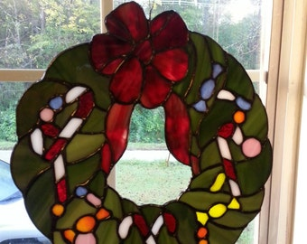 Stained glass Merry Christmas Wreath