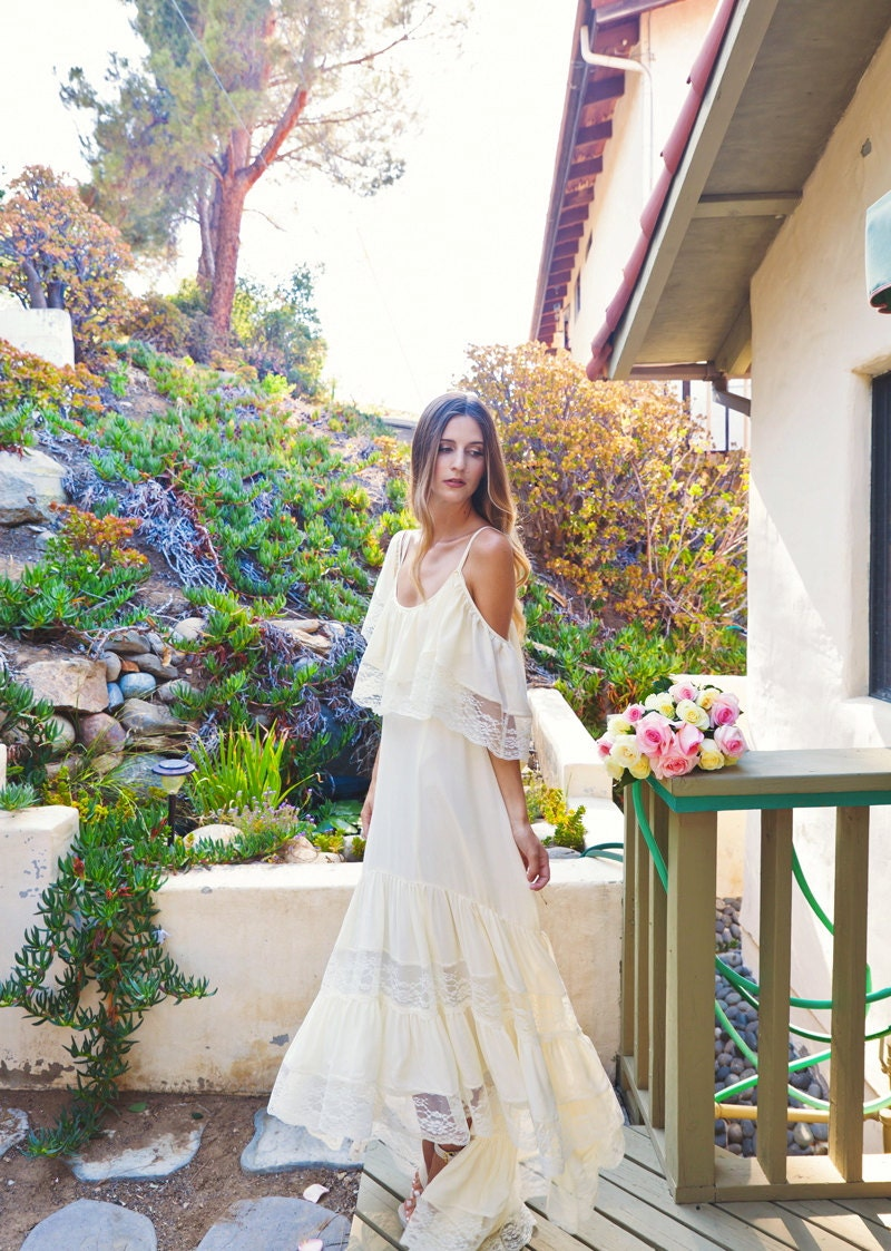 Bohemian Lace Crochet Hippie Wedding Dresses boho beach wedding dress