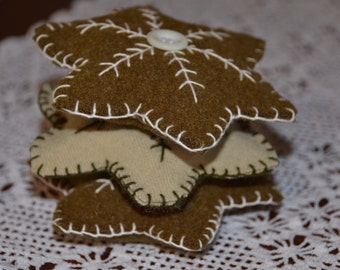 Wool Embroidery Snowflake Stars-Holiday Bowl Filler-Ornie- Embroidery Star-Folk Star- Folk Ornie-Christmas Ornament-Folk Bowl Filler